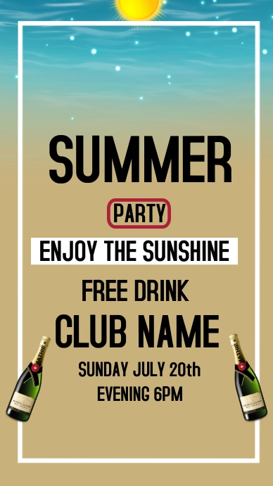 SUMMER PARTY , HAPPY SUMMER Instagram Story template