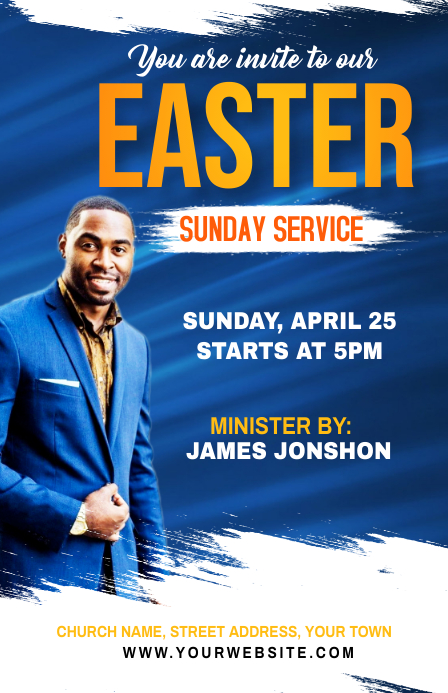 Sunday Service Flyer ความกว้างแบบครึ่งหน้า template