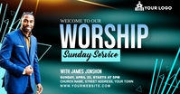 Sunday Service Worship Advert Anúncio do Facebook template