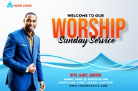 Sunday Service Worship Advert Étiquette template