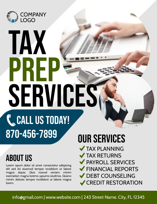 Tax Løbeseddel (US Letter) template