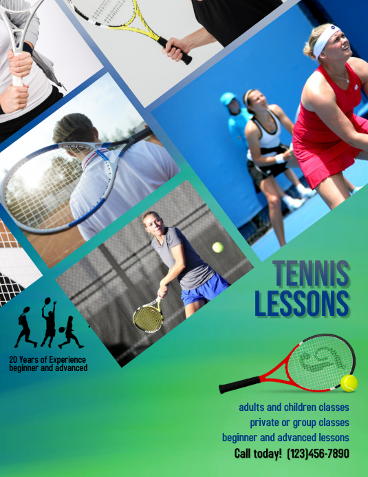 tennis camp or lessons Flyer template