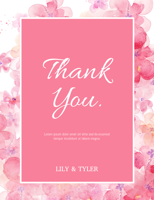Thank You Card Folheto (US Letter) template