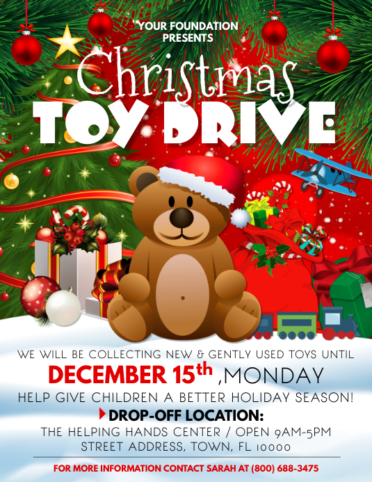 Toy Drive Flyer (format US Letter) template