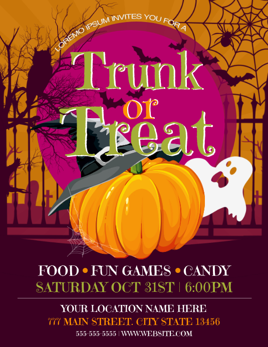 Trunk Or Treat ใบปลิว (US Letter) template