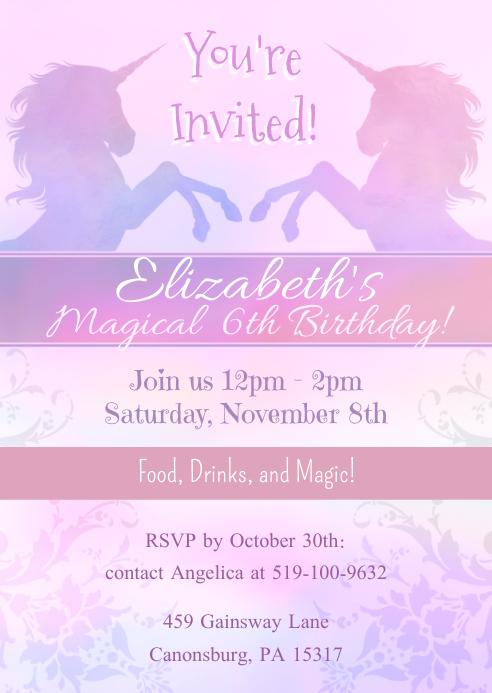 Copy of Unicorn Magical Birthday Invitation
