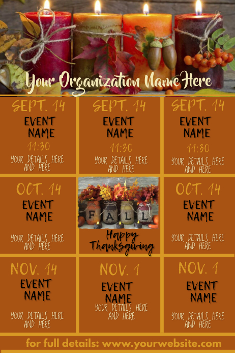 Fall Upcoming Events Calendar