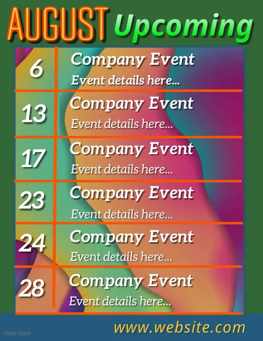 Upcoming Events Slideshow Flyer (US Letter) template