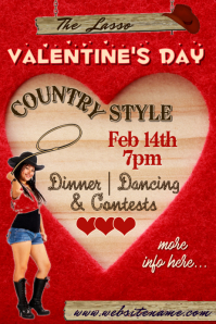 Valentines Day Country Style Poster T Plakat template