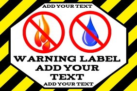 warning label - no open flames or wat