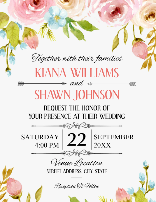 Wedding Flyer (Letter pang-US) template
