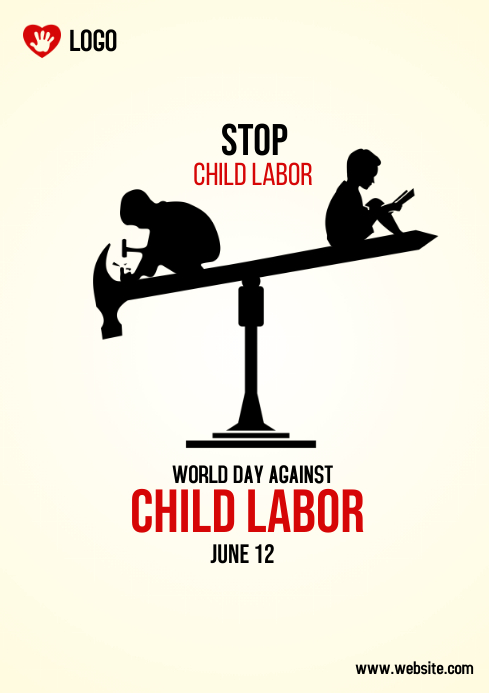 world day against child labour A4 template
