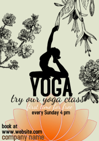Yoga class, first time for free A4 template