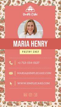 Coral Portrait Pastry Chef Business Card Besigheidskaart template