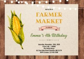 Corn farmer market party shower invitation A6 template