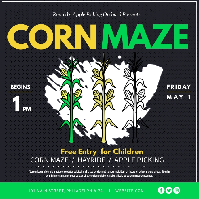 Corn Maze Instagram-opslag template