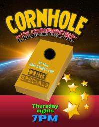 Cornhole Bean Bag Toss Tournament Event Flyer