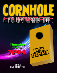 Cornhole Bean Bag Toss Tournament Event Flyer