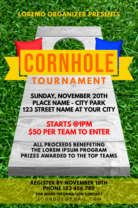 Cornhole Sport Game Tournament Poster template