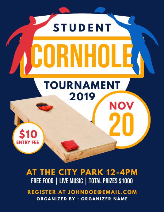 Cornhole Tournament Flyer (Letter pang-US) template