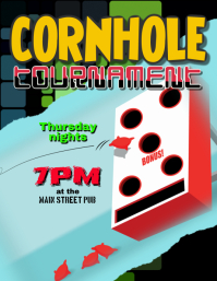 Cornhole Bean Bag Toss Tournament Event Flyer Template