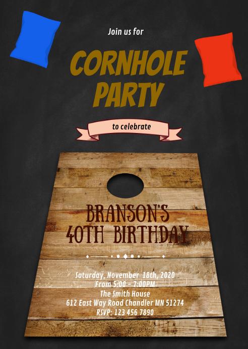 Cornhole Tournament Invitation A6 template