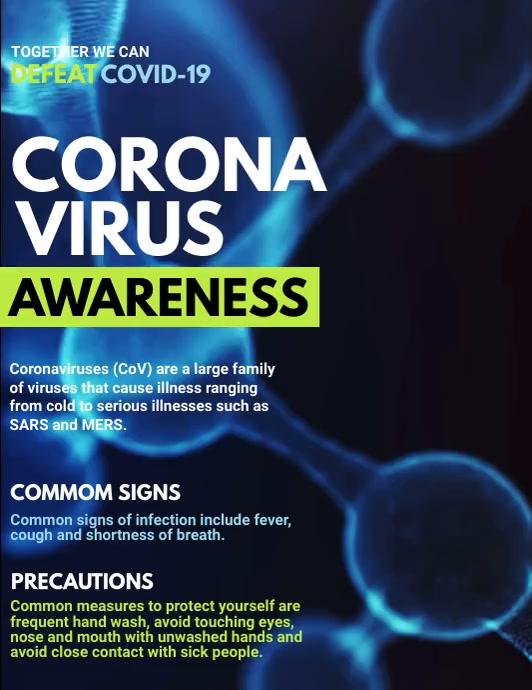 Corona Virus Awareness, COVID-19 Video Volante (Carta US) template