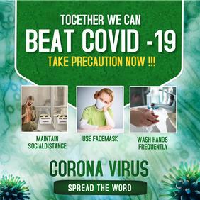 Corona virus flyers สี่เหลี่ยมจัตุรัส (1:1) template
