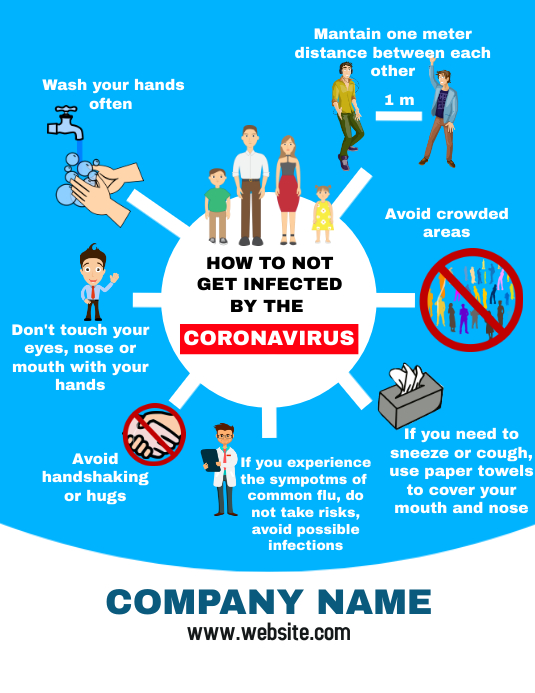 Corona virus Prevention flyer infographic Folheto (US Letter) template