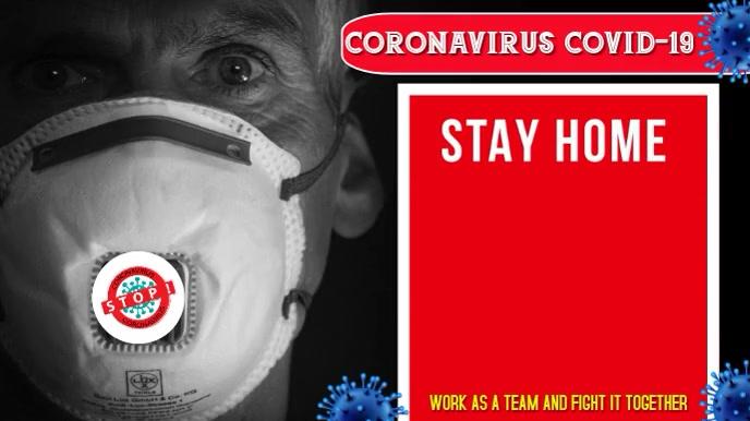 Coronavirus, Covid-19, Stay Home, Save lives Digitalt display (16:9) template