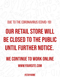 Coronavirus closed store sign poster
