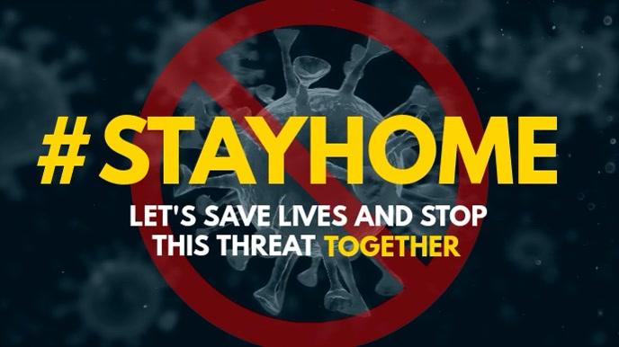 Coronavirus covid Hashtag #Stayhome display 数字显示屏 (16:9) template