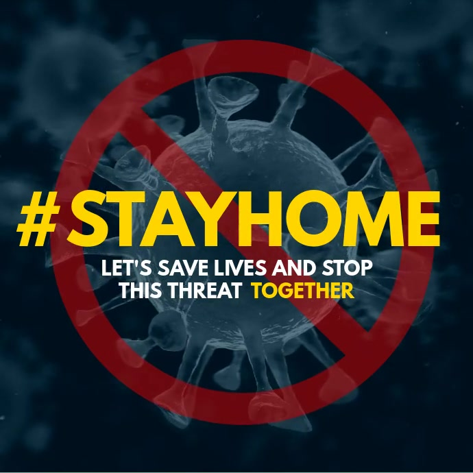 Coronavirus covid Hashtag #Stayhome square