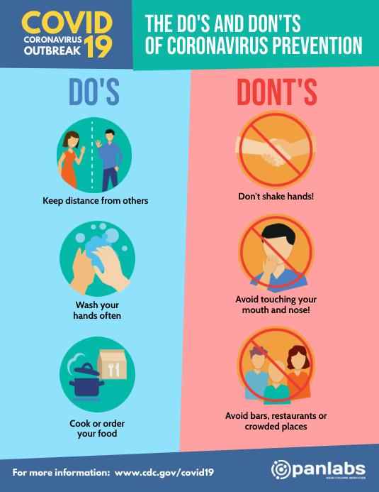 Coronavirus Do's and Don'ts distancing flyer