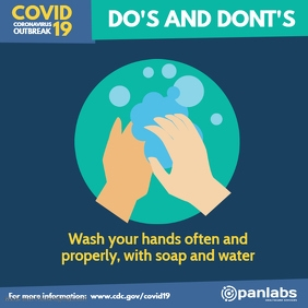Coronavirus Do's and Don'ts wash hands flyer Квадрат (1 : 1) template