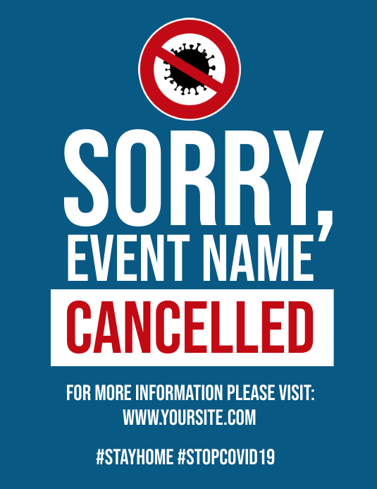 Coronavirus event cancelled notice flyer post ใบปลิว (US Letter) template