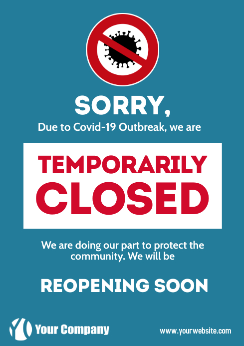 Coronavirus Information Closed Poster Flyer A4 template