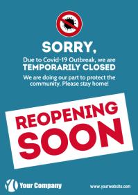 Coronavirus reopening soon information notice A4 template