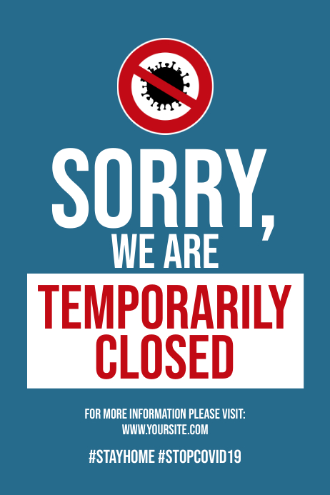 Coronavirus temporarily closed poster template