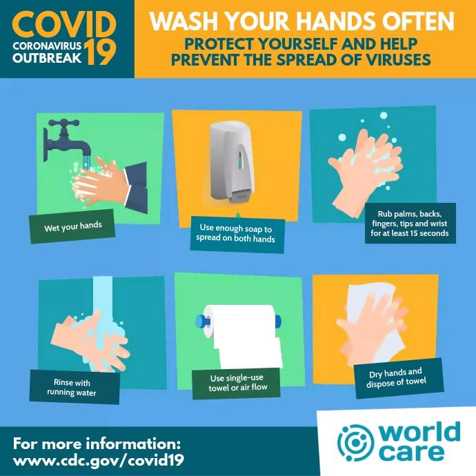 Coronavirus wash hands video flyer post template
