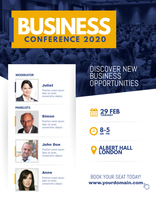 Corporate Business Conference Poster Flyer Volante (Carta US) template