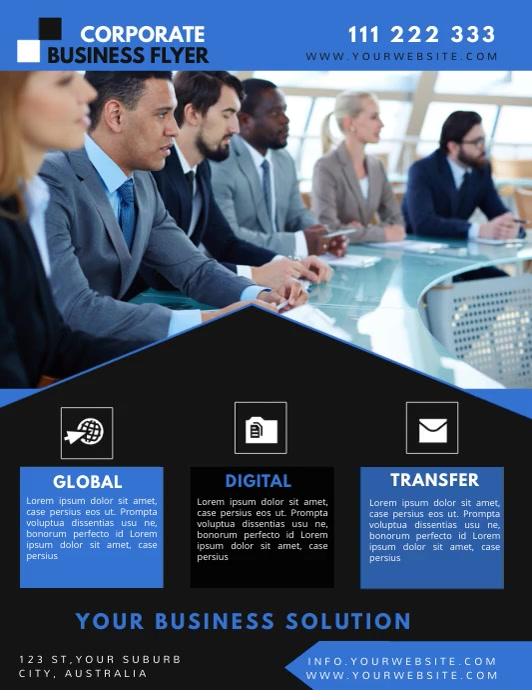 corporate business flyer template Folheto (US Letter)