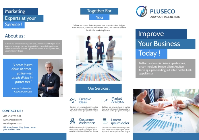corporate business trifold brochure advertise A4 template