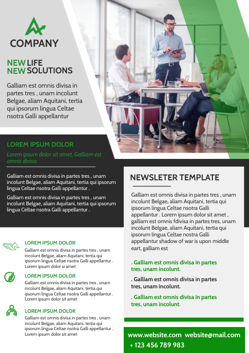 corporate green and grey and white newsletter A4 template