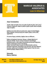 Corporate letterhead grey and yellow with col