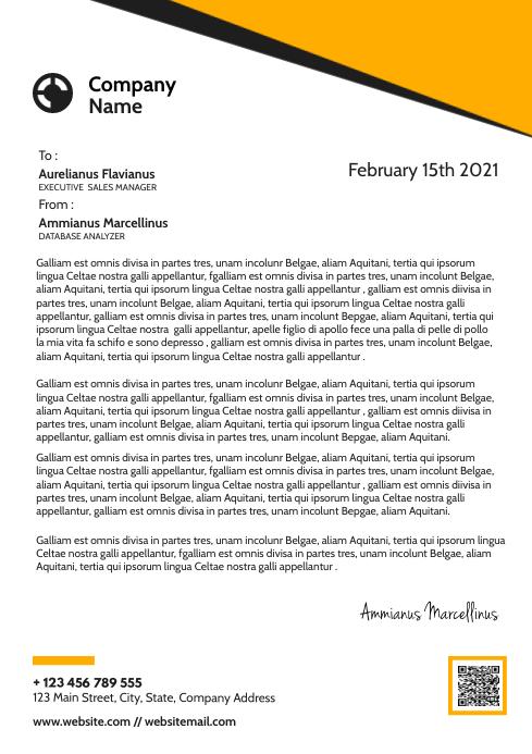 corporate modern black and orange letterhead A4 template
