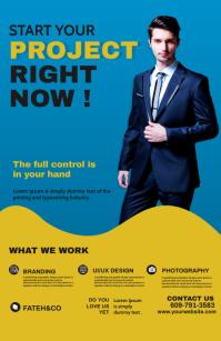 Corporate Poster Design Kalahating pahina na Wide template