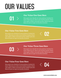 Corporate Steps Values Colorful Flyer ใบปลิว (US Letter) template