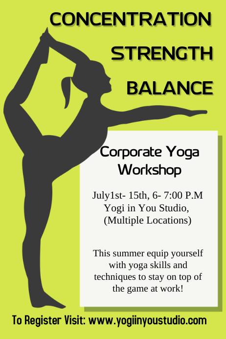corporate yoga flyer  poster template