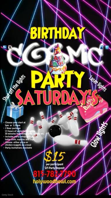 Cosmic Birthday Parties Affichage numérique (9:16) template